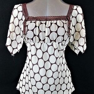 CHARLOTTE RUSSE IVORY BROWN LACE ACCENT TOP (O)EM*